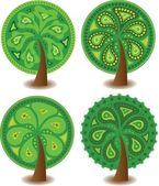 Set of icons of different trees, the vector — Stock Vector