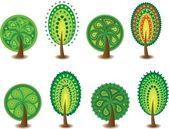 Sada ikon různých stromů, vektor — Stock vektor