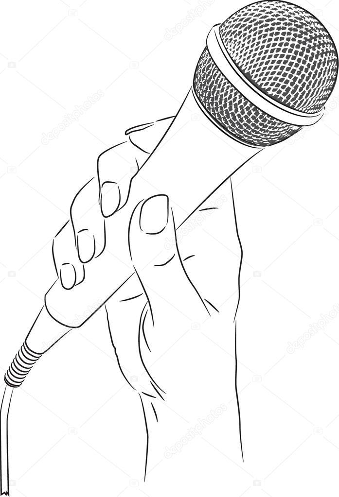 vector tekening van een hand met een microfoon