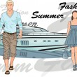 Fashion man and girl with boat on background — Stock Vector #13982268