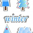 Set of winter trees, the vector — Stock Vector