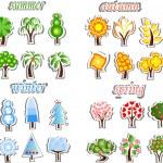 Set of winter, spring, autumn, summer trees — Stock Vector