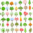 Set of icons of different trees — 图库矢量图片