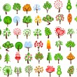 Stock Vector: Set of icons of different trees