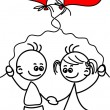 Royalty-Free Stock Imagen vectorial: Couple in love, a child's drawing, the vector