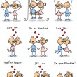 Couple in love, a child&amp;#039;s drawing, the vector - Imagens vectoriais em stock