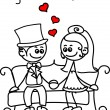 Cute love, the bride and groom — Imagen vectorial