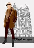Vector sketch of fashionable man, the background — Stock Vector