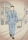 Mode mannen på gatan bakgrund — Stockvektor