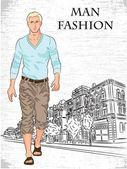 ファッション男の背景 — ストックベクタ