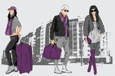 Vector sketch of fashionable men and women on city background — Stock Vector
