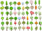 Set of icons of different trees — Stock Vector