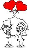 Süße liebe, braut und bräutigam — Stockvektor