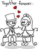 Lindo amor, la novia y el novio — Vector de stock