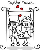 Cute love, the bride and groom — Stock Vector