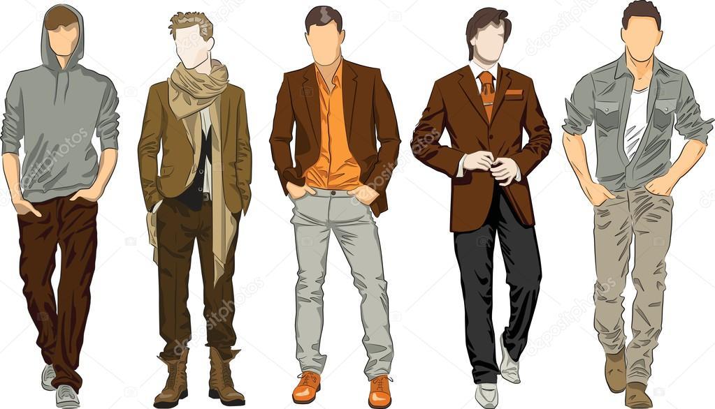 Мужчины в одежде рисовать