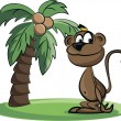 Stock Vector: Cartoon monkey and palm
