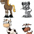 Set of cartoon domestic animals — Stock Vector