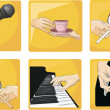 Set of hands on action — Stock Vector