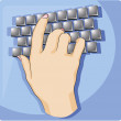 Stock Vector: Hand typing keyboard