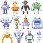 Cartoon robots set — Stock Vector #32017265