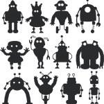Cartoon robots silhouettes set — Stock Vector #32017267