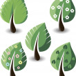 Set of vector trees — Stock Vector