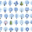 Big set of cartoon winter trees — Stock Vector