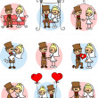 Cute love, the bride and groom — Image vectorielle