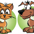 Cartoon cat and dog — Stock Vector