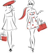 Fashion girls vector sketch — Vector de stock