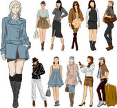 Set of fashion girls — Stock Vector