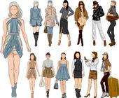 Vector sketch fashion women — Stock Vector