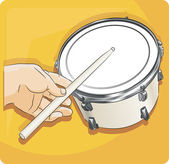 Playing drum — Stock Vector