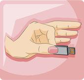 Hand mit Usb-flash-Laufwerk — Stockvektor