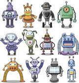 Cartoon robots set — Stock Vector