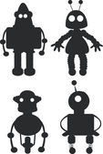 Cartoon robots silhouettes - vector — Stock Vector