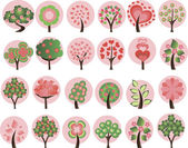 Large set of spring trees — Stock Vector