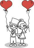 Nevěsta a ženich v lásce — Stock vektor