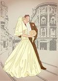 Bride and groom — Vetorial Stock