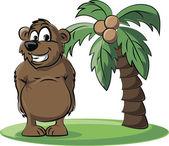 Cartoon bear with palm — Stock Vector