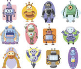 Set of cartoon robots — Stock Vector