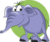 Cartoon elephant on green background — Stok Vektör