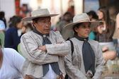 In traditional dress at Purmamarca, Argentina — Stock Photo