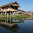 Maing Thauk village of stilt houses on Inle Lake — Stock Photo