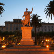 Saint-Nicolas square and statue of Napoleon Bonaparte at Bastia on Corsica island — Stock Photo
