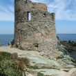 Genoese tower near Erbalunga - Stock Photo