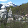 The village of Re with Basilica Santa Maria - Stock Photo