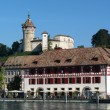 Stock Photo: Old town of Schaffhausen and Rhine River