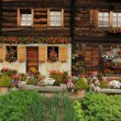 Wooden Swiss house at Geschinen — Stock Photo